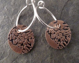 Boho Mini Copper Earrings ~ Fern Leaf