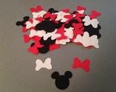 100 Red White Bow Black Minnie Mouse Die Cut Punch Cutout Confetti Embellishment Scrapbook