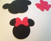 Large Red Black Minnie Mouse Bow Die Cut Punch Cutout Confetti Embellishment Scrapbook