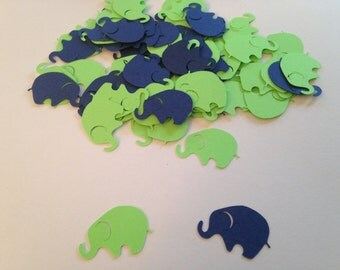 Lime Green Navy Elephant Confetti Die Cut Punch Elephant Cut Out Scrapbook Baby Shower Elephant Baby Shower Decoration