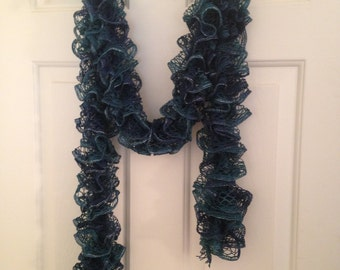 Shades of Blue Ruffle Scarf Hand Knitted 72 inches