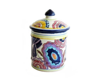 Vintage Canister Apothecary Jar Paisley Made in Mexico Signed