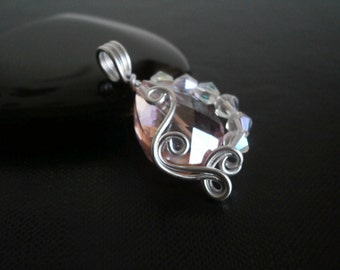 Crystal Pendant, Wire Wrapped Necklace, Aluminum wire jewelry