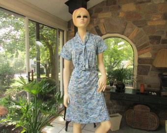 Vintage British Lady Jersey Knit Belted Dress, Vintage Clothing, Vintage Dress with Belt, Vintage Seventies Dress, 1970's Dress