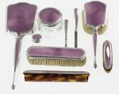 RESERVED for Carmen: Antique Guilloche Enamel Sterling Silver Dresser Vanity Set - 9 Pieces