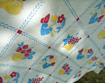 Sweet Bonnet Girl Tablecloth / Vintage Printed Tablecloth / Girl In Bonnet watering Flowers / Cotton Tablecloth / Prairie Girl / Amish Girl