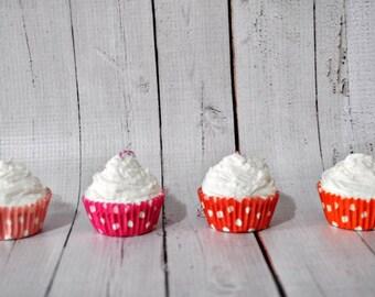 Orange Polka Dots Christmas Ornaments Fake Mini Cupcake