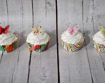 Red Butterfly Fake Mini Cupcakes