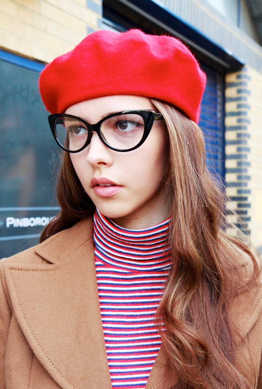 Black Thin Frame Faux Cat-Eye Glasses
