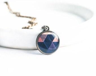 Small necklace, dark blue pendant, geometric necklace, bronze pendant