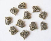 10 Metal Antique Bronze Ornate Heart Charms - 14mm