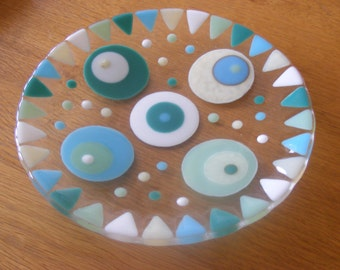 1 Round Fused Glass Dish/Plate