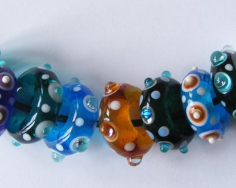 9 Handmade Lampwork Large Hole Glass Beads - Multicolour