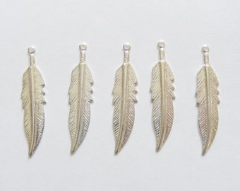5 Metal Silver Plated Feather/Leaf Charms - 30mm