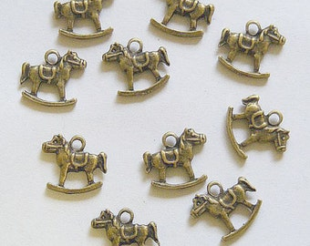 10 Metal Antique Bronze Rocking Horse Charms - 16mm