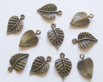 10 Metal Antique Bronze Leaf Charms - 21mm