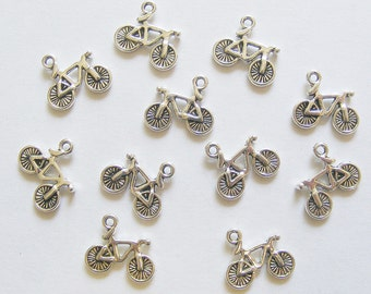 10 Metal Antique Silver Bicycle Charms - 15mm