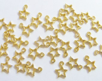 50 Metal Gold Plated Star Charms - 13mm