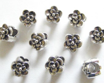 10 Metal Antique Silver Large Hole Flower Spacer Beads - 9mm