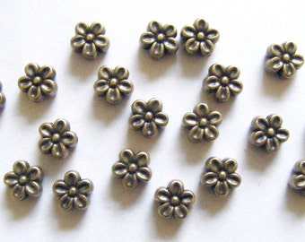 30 Metal Antique Bronze Flower Spacer Beads - 7mm
