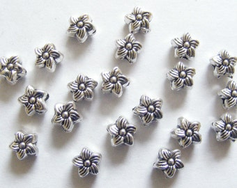 40 Metal Antique Silver Flower Spacer Beads - 6.5mm