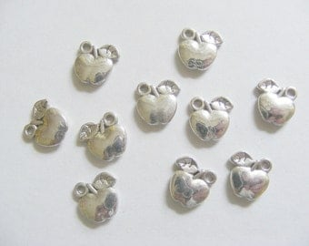 15 Metal Antique Silver Apple Charms - 11mm