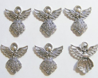6 Metal Antique Silver Angel Charms - 26mm