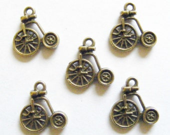 10 Metal Antique Bronze Penny Farthing Bicycle Charms - 17mm