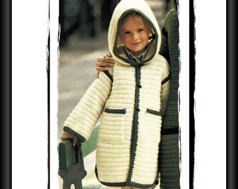 Instant Download PDF Crochet Pattern to make a Girls Kaftan Style Duffle Coat Cowl Hood Knee Length Patch Pockets 3 Sizes 2 4 6 Years