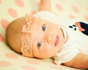 NEW! Coral { Amelia } headband. Lace bow headbands . Newborn, toddler, child, teen, adult
