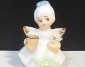 Christmas Miniature Angel Figurine Candle Holder Napco Spaghetti Trim