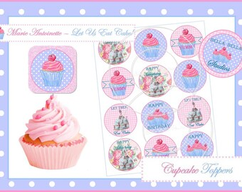 MARIE ANTOINETTE Let Us Eat Cake - Instant Download - PRINTABLE Cupcake Toppers - Bella Bella Studios