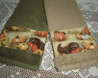 Hand/dish towel, tan or olive green, pumpkin patch/cornucopia, sunflowers, autumn colors, 100% cotton terry towel, fall decor, hostess gift