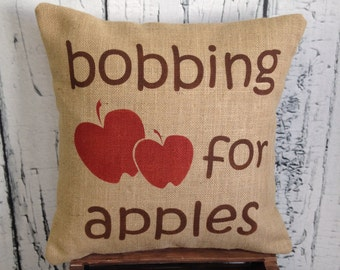 Bobbing for apples burlap decorative pillow with bobbing for apples - Halloween - fall - autumn