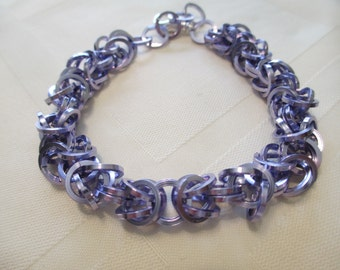 Square Wire Byzantine Chain Maille Bracelet in Lilac