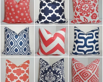 Coral & Navy Pillow Covers Dandelion Damask Chevron Moroccan Print Pillow Covers Choose Size