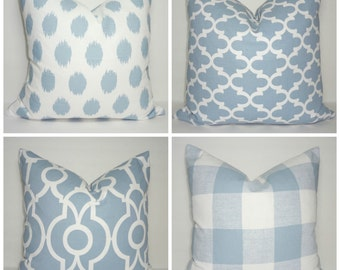 Cashmere Blue Geometric Ikat Checked Blue & White Pillow Covers Cashmere Blue Pillow Covers Choose Size