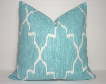 Blue Ikat Geometric Lacefield Monaco Mist Pillow Cover Decorative Throw Pillow 18x18
