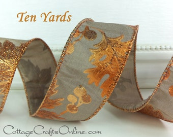 "Fall Wired Ribbon, 1 1/2"", Copper Orange Leaf Metallic Glittered Pattern on Taupe - TEN YARDS - Offary ""Copper Leaves"" Wire Edged Ribbon"