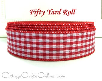 """Wired Ribbon, 1 1/2"""" Red White Check Gingham - FIFTY YARD ROLL - Offray Christmas, Valentine, Summer, Picnic Check, Craft Wire Edge Ribbon"""