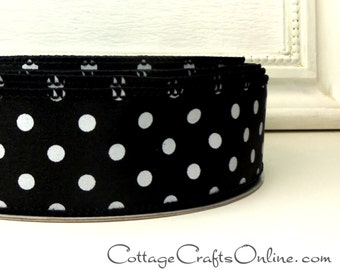"Wired Ribbon, 1 1/2"" wide, Black with White Polka Dots - TEN YARDS - Offray, Halloween, New Year's Wire Edged Ribbon"