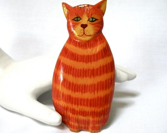 Large Whimsical Kitty Cat Pin, hand painted, orange stripe, Excellent