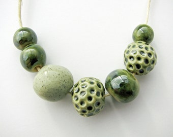 Sea Green Beads Set (7) Stoneware  Clay