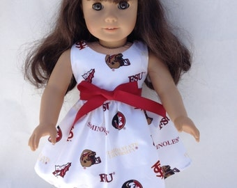 18 inch Doll Dress using Florida State white toss fabric,  made to fit 18 inch dolls such as American Girl and similar 18 inch dolls