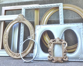 Metallic Silver and Gold Ornate Large Picture Frame Set Gallery Wall 8 Piece French Gallery Wall