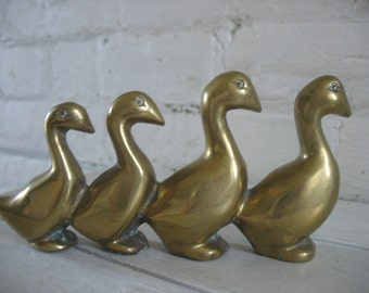 Vintage Brass Ducks In A Row