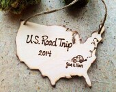Ornament to celebrate your travels! Road trip? Vacation? Family fun? Personalized USA shape