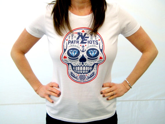 Womens new england patriots 39 ne calavera 39 t shirt by c2kdesign for Patriots t shirts for women