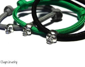 3 Paracord Bracelets, Skull Bracelets, Stacking Bracelets, Men's Jewelry, Men's Bracelet, Skull Jewelry, Black Bracelet, Rope Bracelet