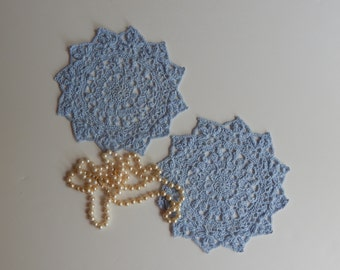 "Crochet Mini Doilies - Powder Blue - Pair of Lacy Small 7 1/2"" - Set of 2"